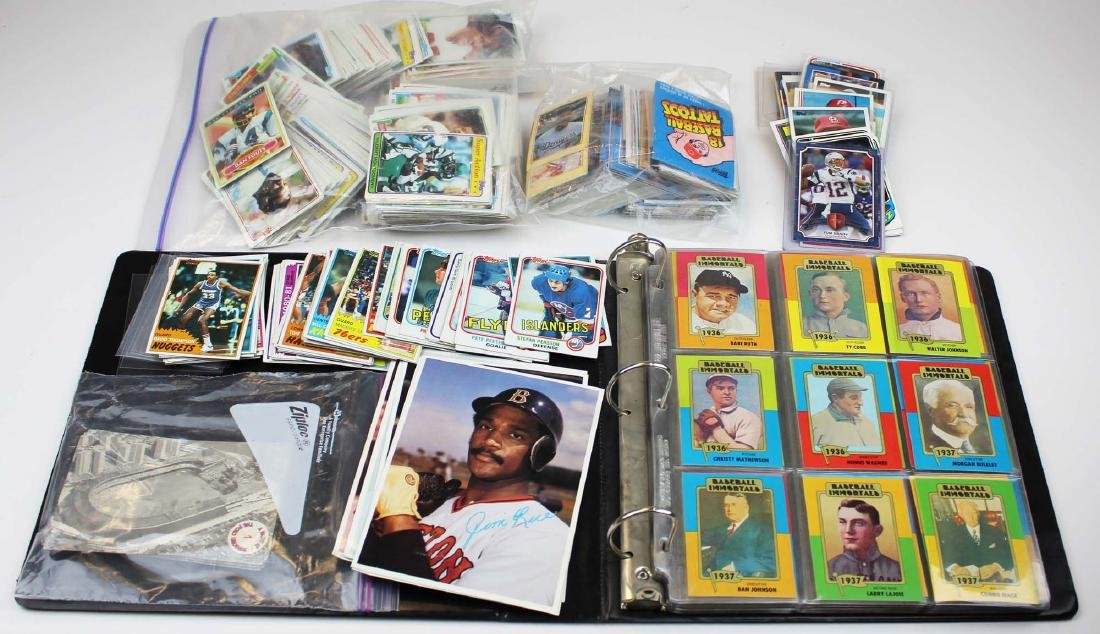 mixed group of sports cards