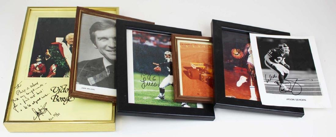 six autographed sporting photographs