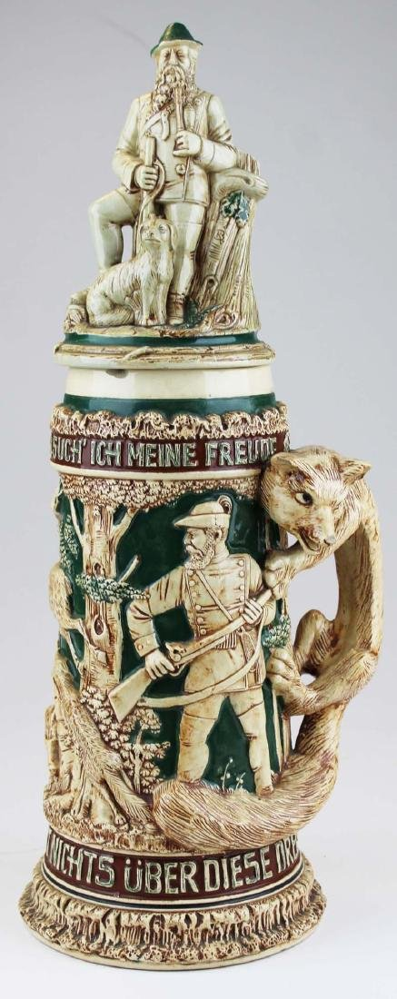large late 20th c. German pottery figural stein