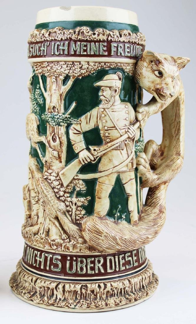 large late 20th c. German pottery figural stein - 3