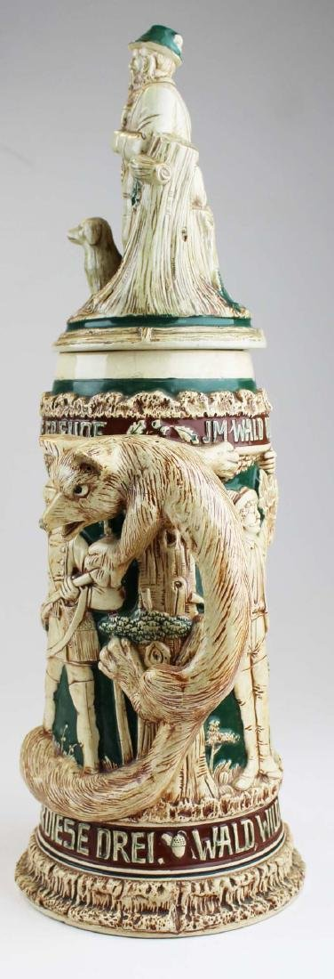 large late 20th c. German pottery figural stein - 5