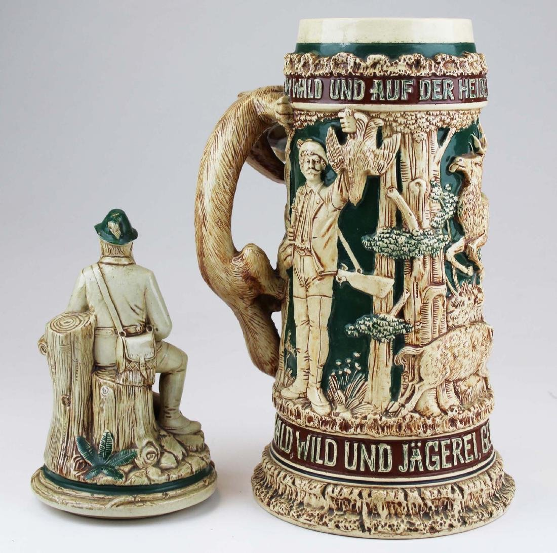 large late 20th c. German pottery figural stein - 6