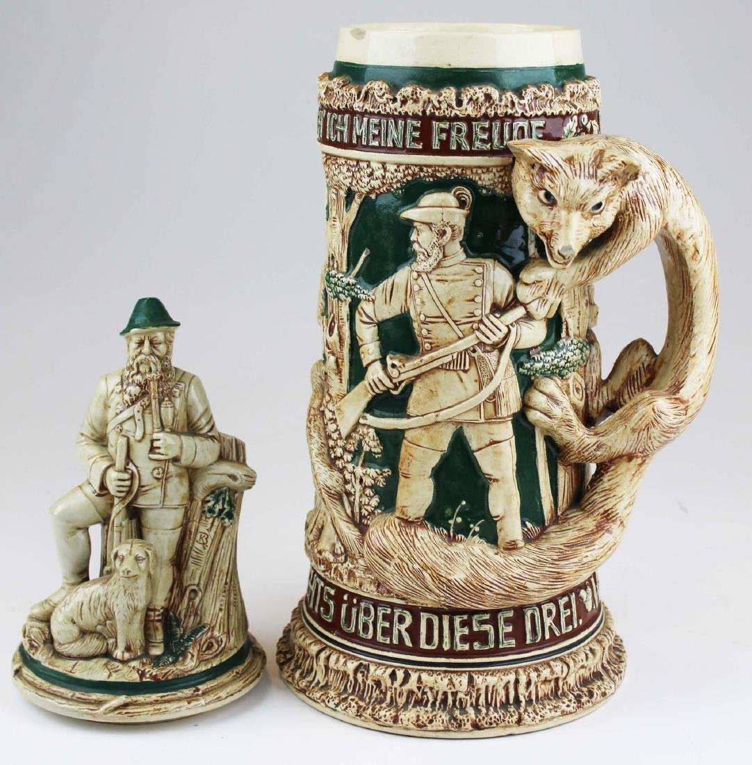 large late 20th c. German pottery figural stein - 8