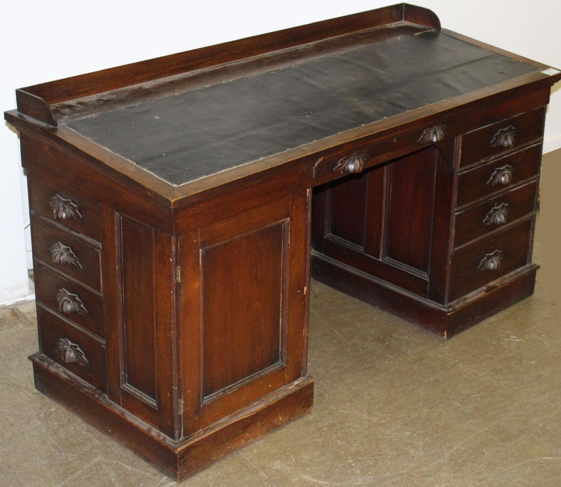 Victorian walnut slant top stationmaster's desk