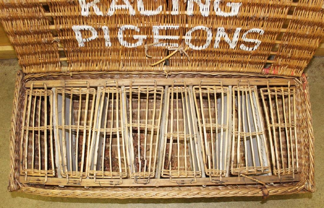 late 19th c. Wicker Racing Pigeons carrier - 2