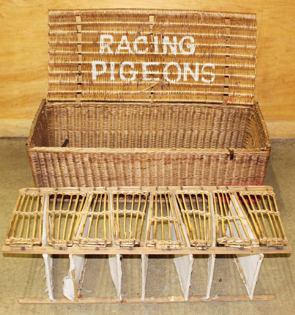 late 19th c. Wicker Racing Pigeons carrier - 3