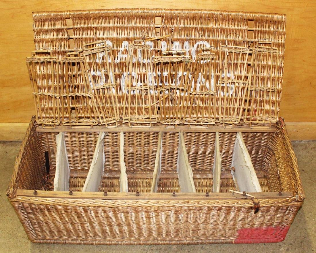 late 19th c. Wicker Racing Pigeons carrier - 7