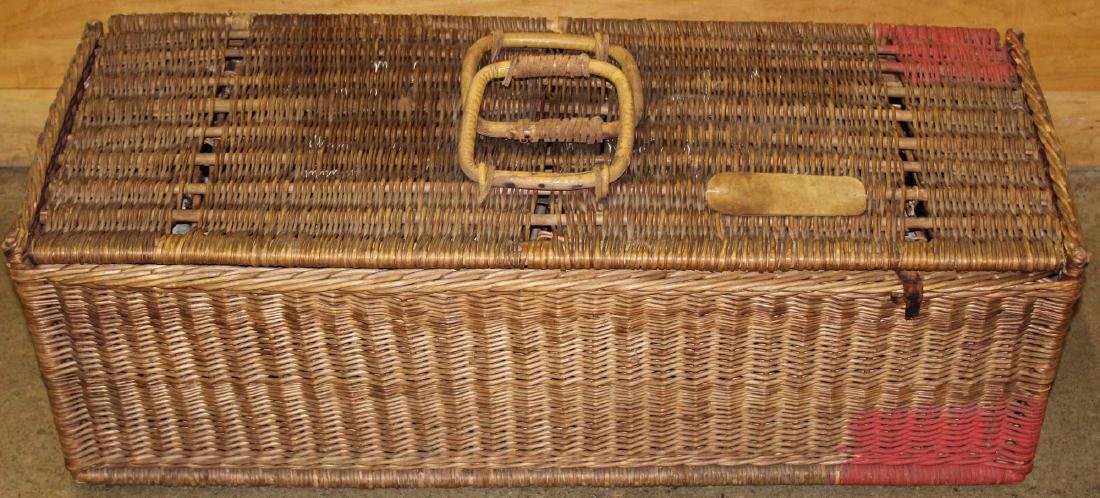 late 19th c. Wicker Racing Pigeons carrier - 8