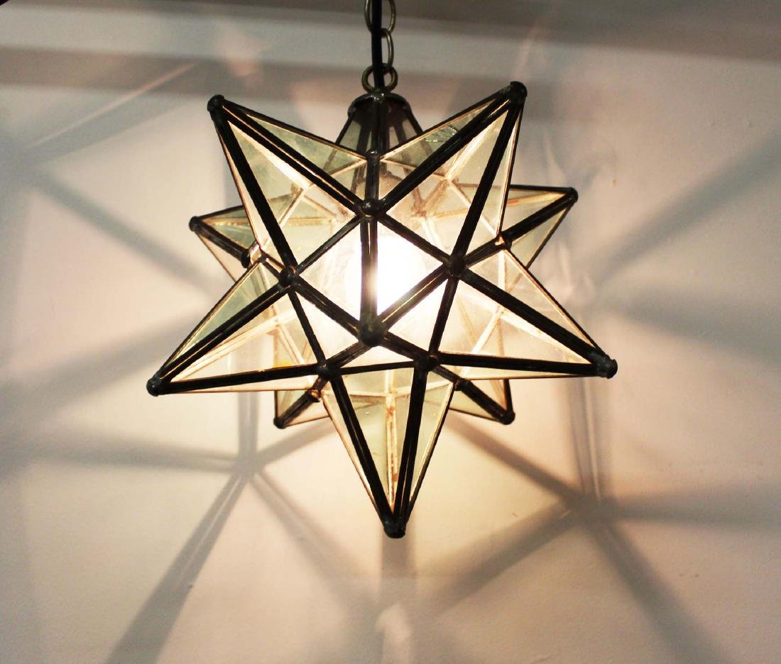 3 metal and glass star globe light fixtures