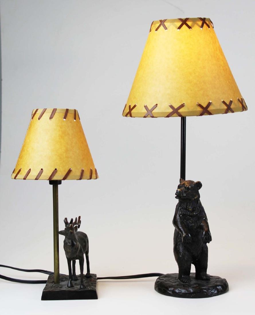 Two bronze base Adirondack style table lamps - 2