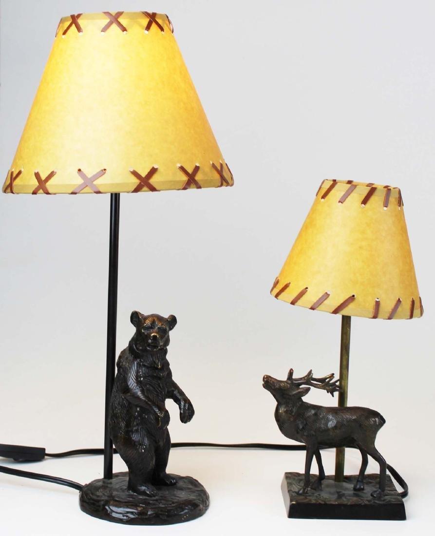 Two bronze base Adirondack style table lamps - 7
