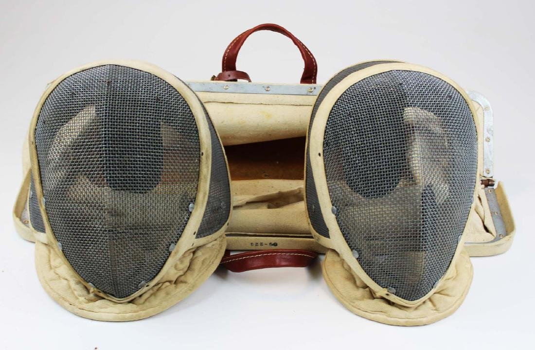 pair of Castello NYC fencing masks w/ bag