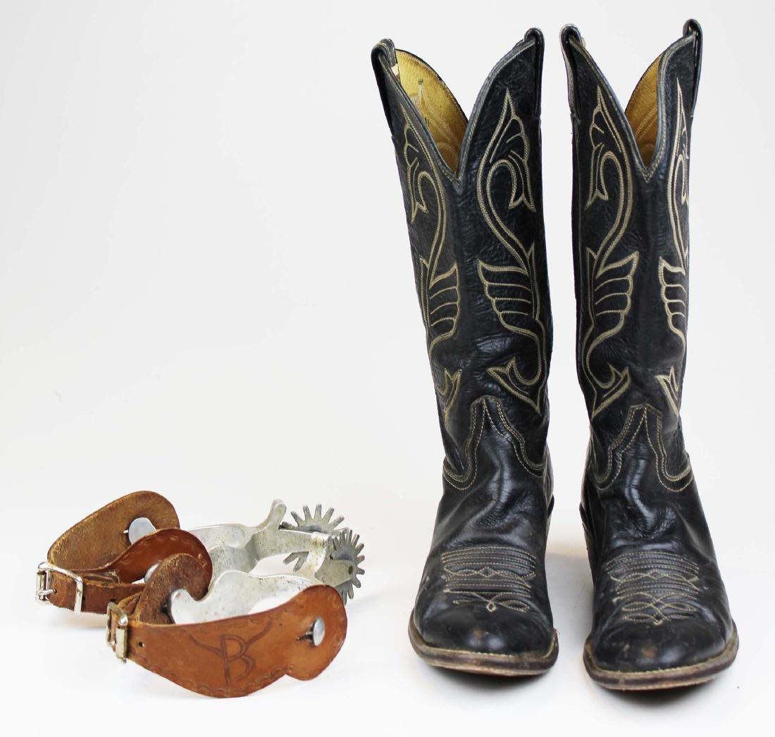 vintage Hondo cowboy boots, spurs