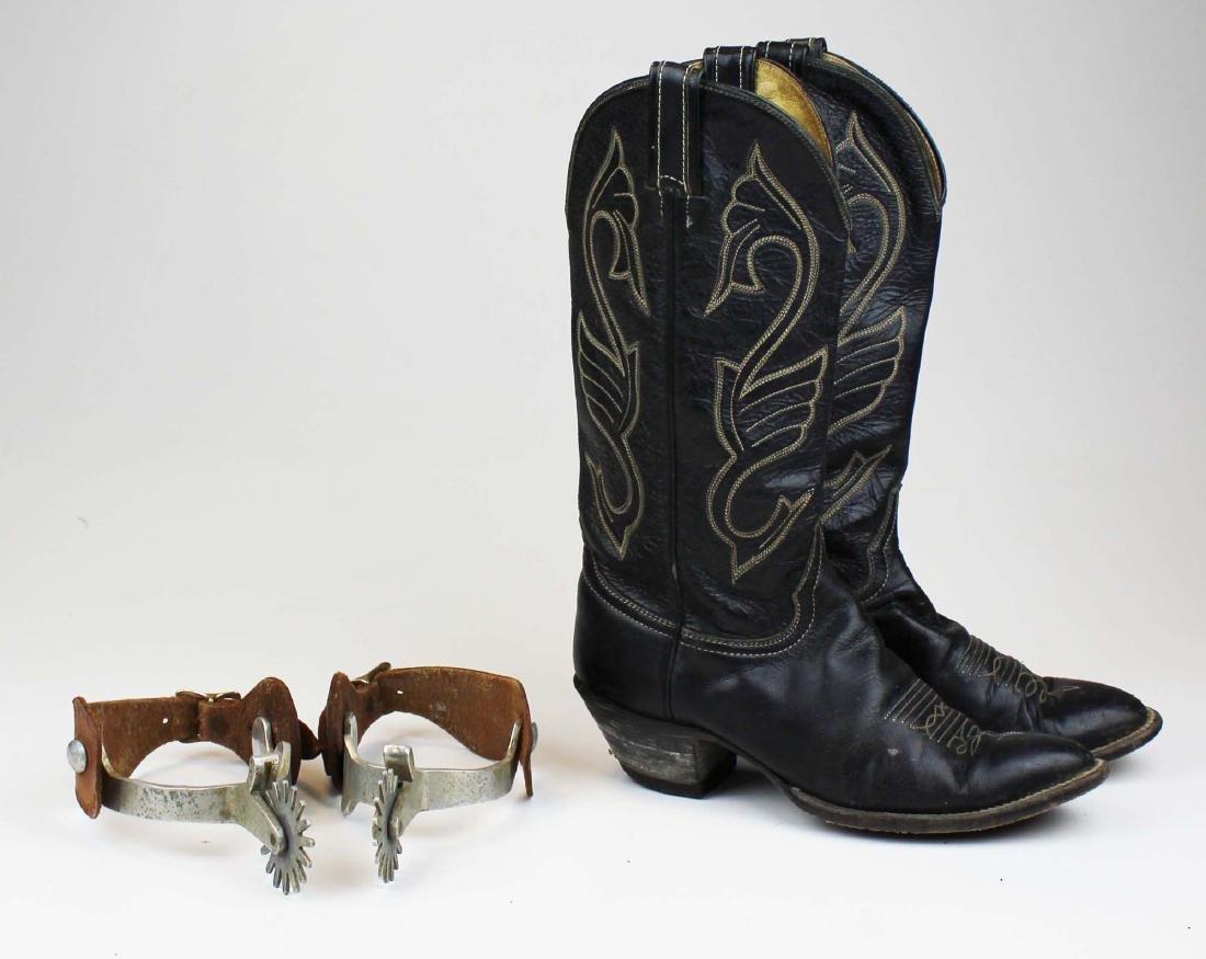 vintage Hondo cowboy boots, spurs - 2