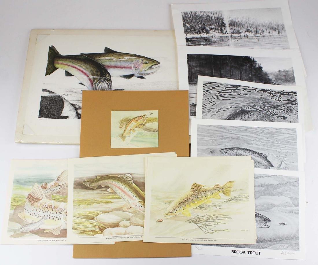 fourteen vintage sporting prints- trout