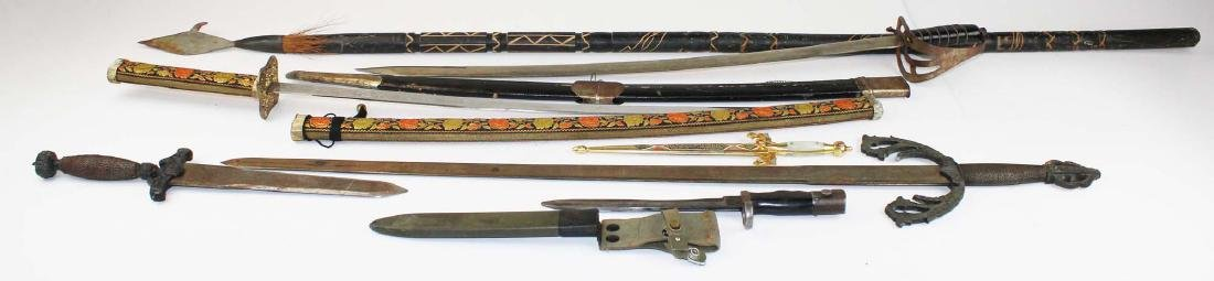 replica swords, daggers, spear, bayonet