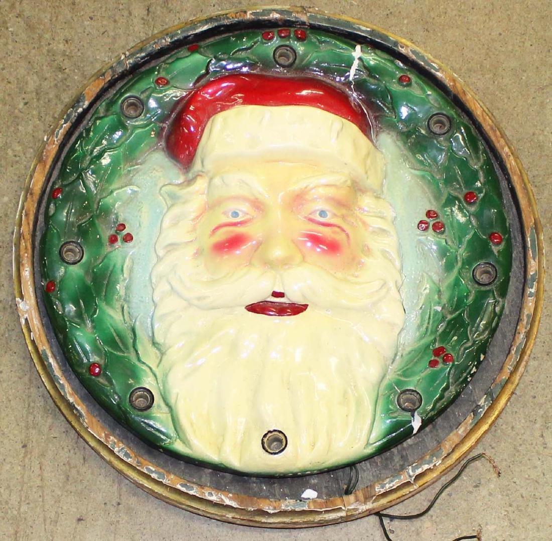1930's cast plaster lighted Santa Claus plaque