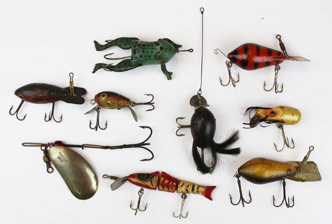 nine ca 1940's vintage fishing lures