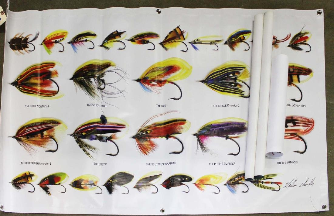 three fly tying posters of various flies