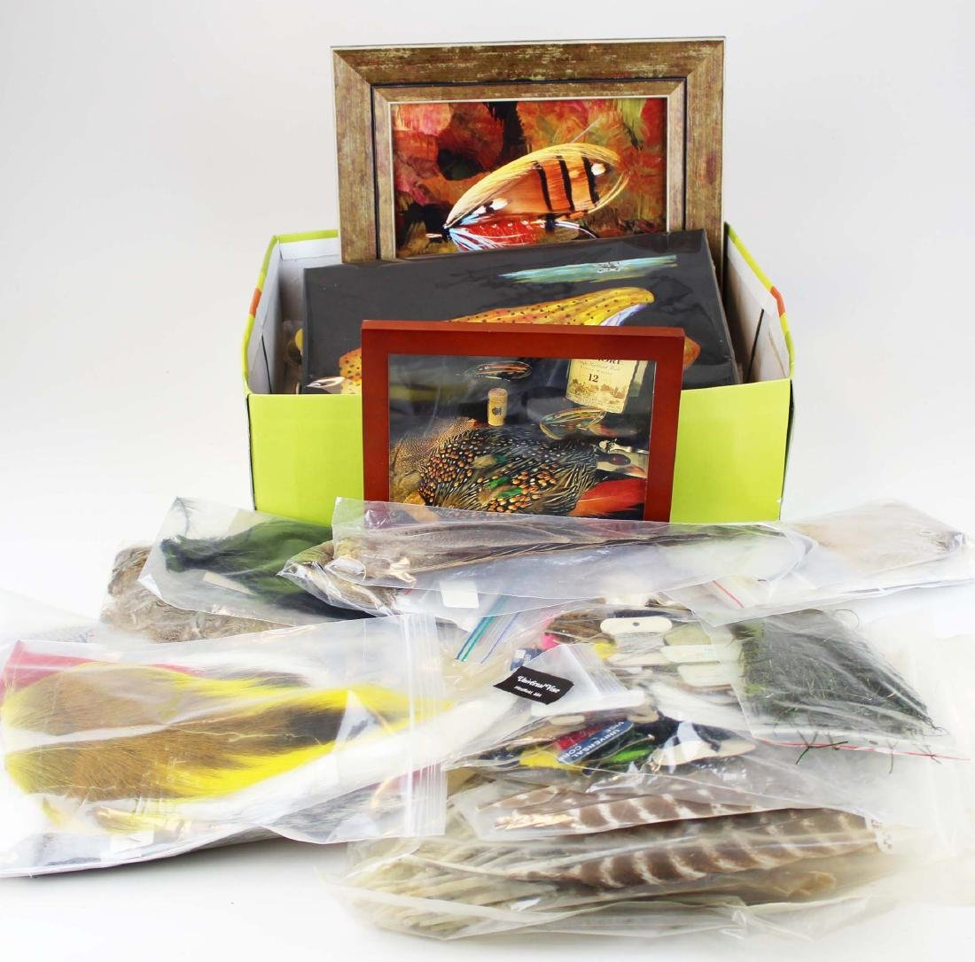 trout painting, photos, fly tying materials