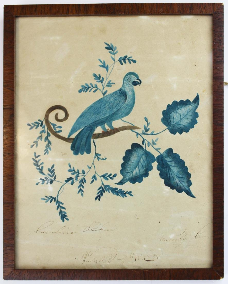1835 Winhall, VT folky watercolor of a bird
