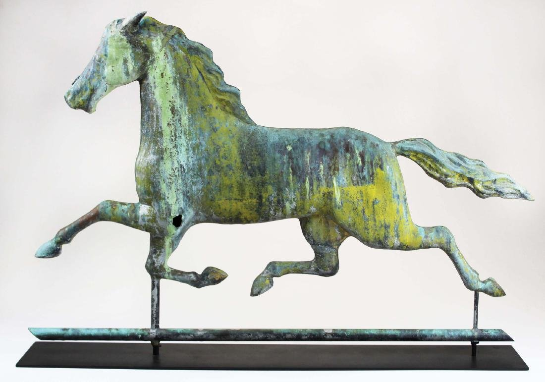 late 19th c Ethan Allen running horse weathervane