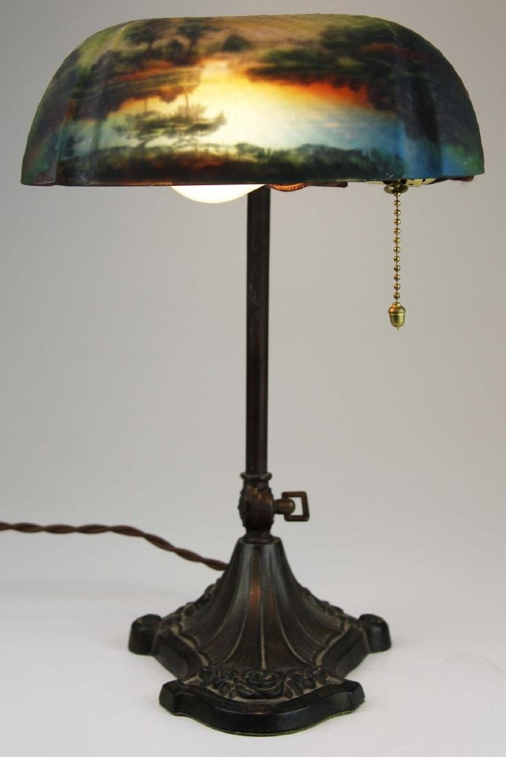 Pittsburg reverse painted shade desk lamp