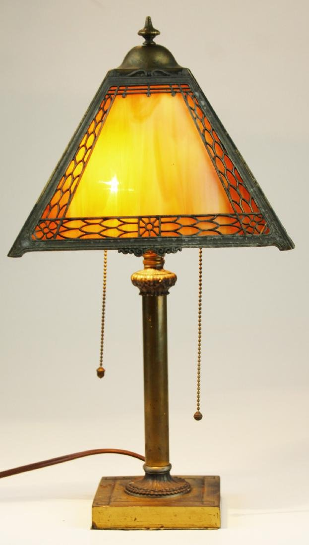 Miller brass table lamp with slag glass shade
