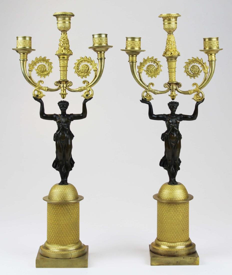 pr of French gilt bronze garniture candlesticks
