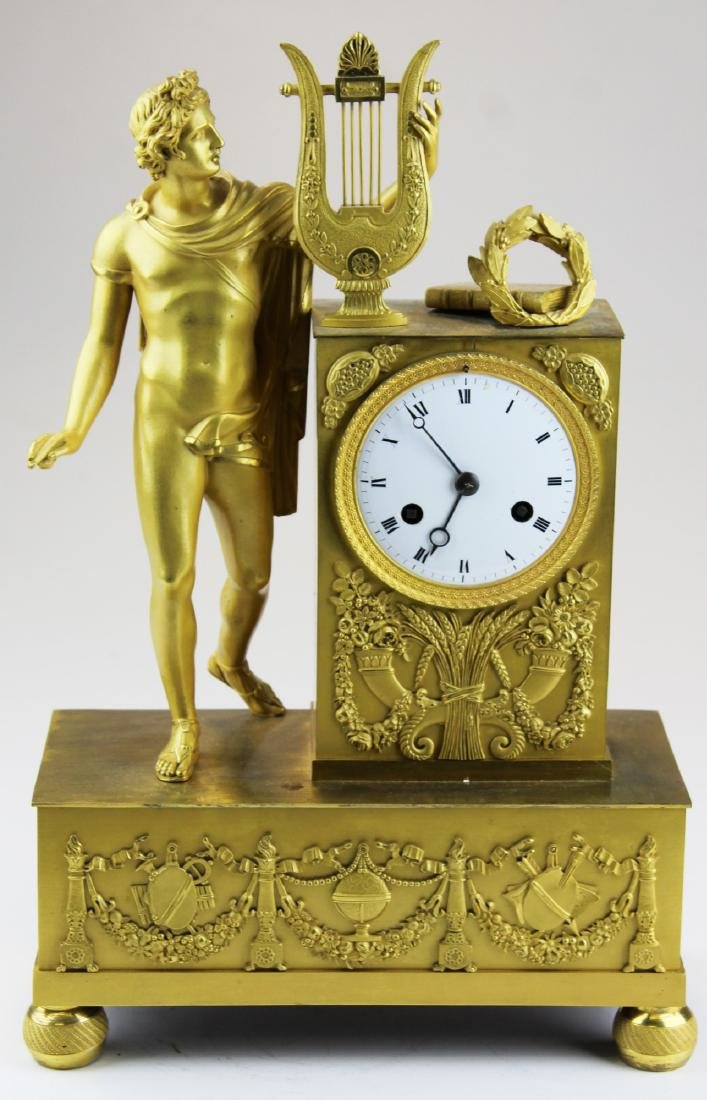 French gilt bronze garniture clock with dome