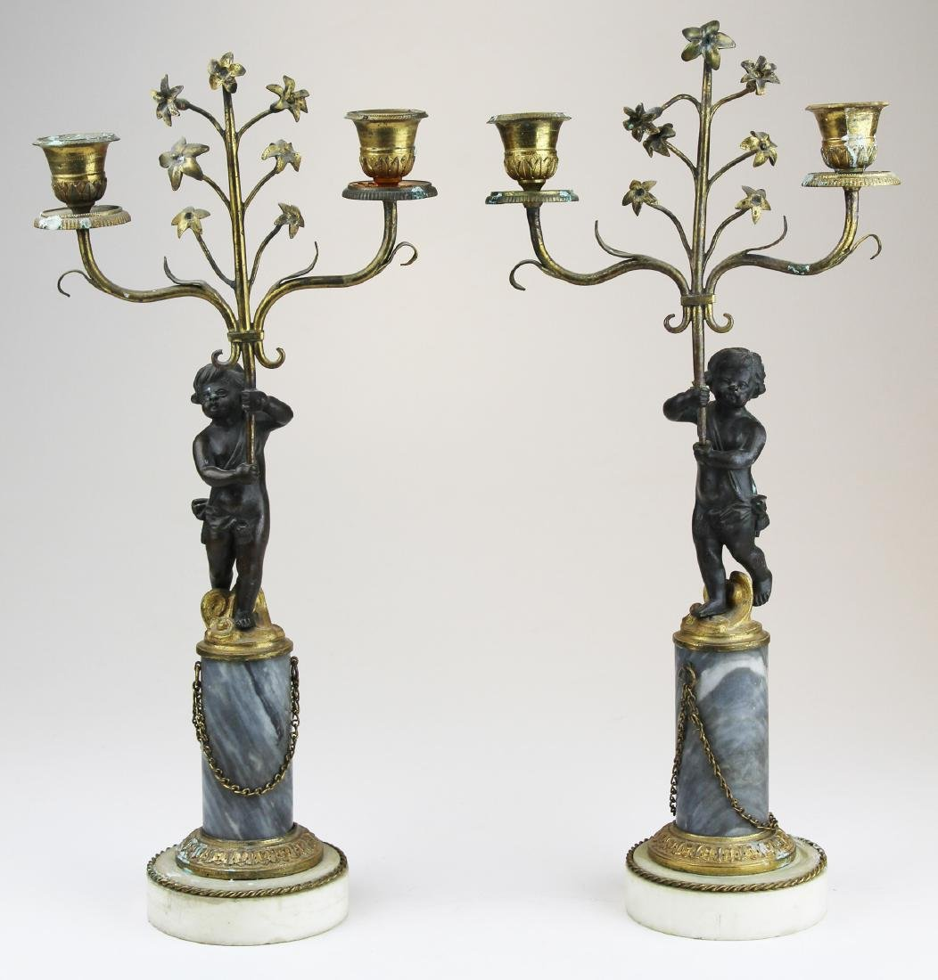 French gilt bronze garniture candlesticks