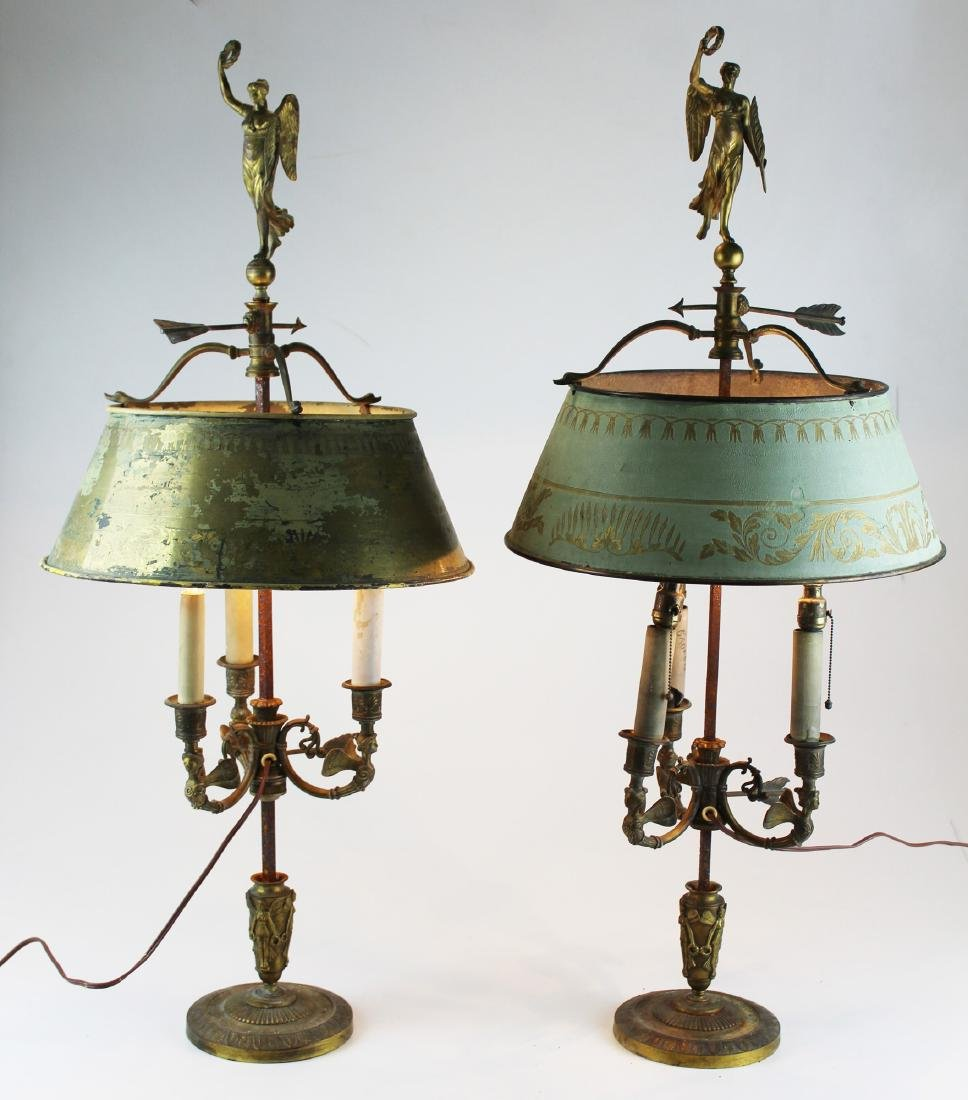French gilt bronze adjustable table lamps
