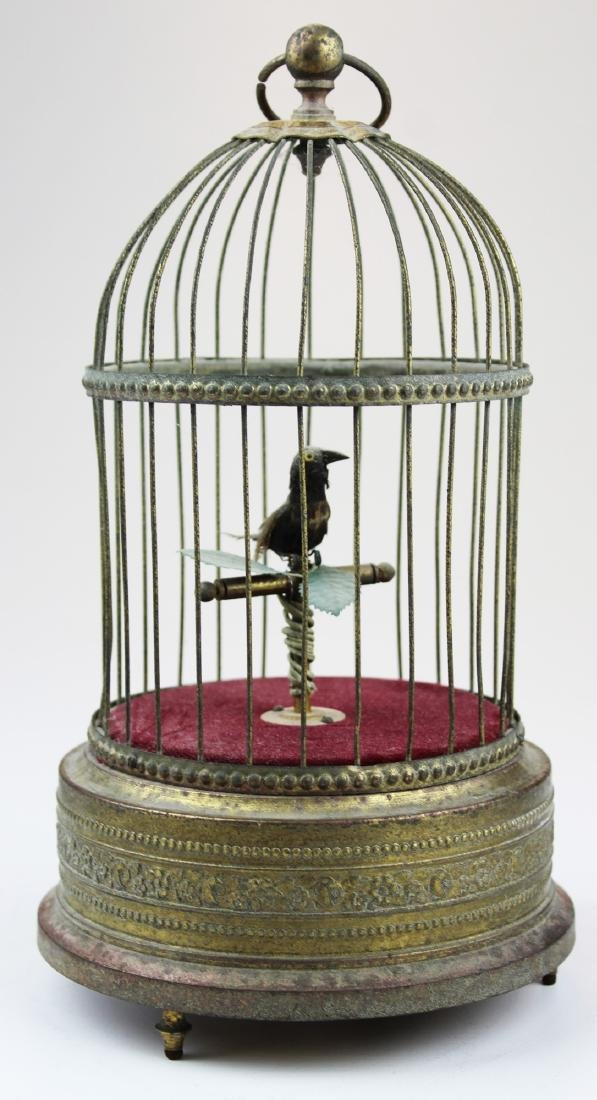 French gilt brass bird in cage music box