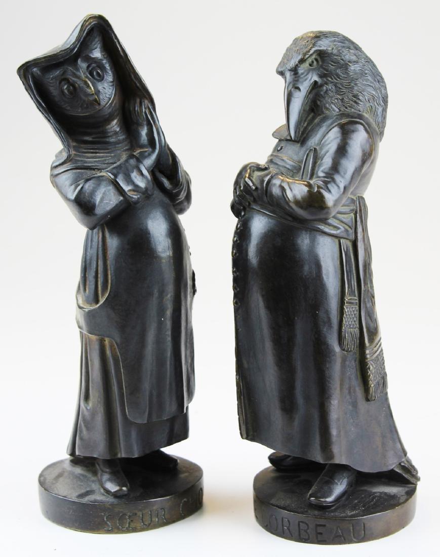 L'Abbe Corbeau & Soeur Chouette bronzes