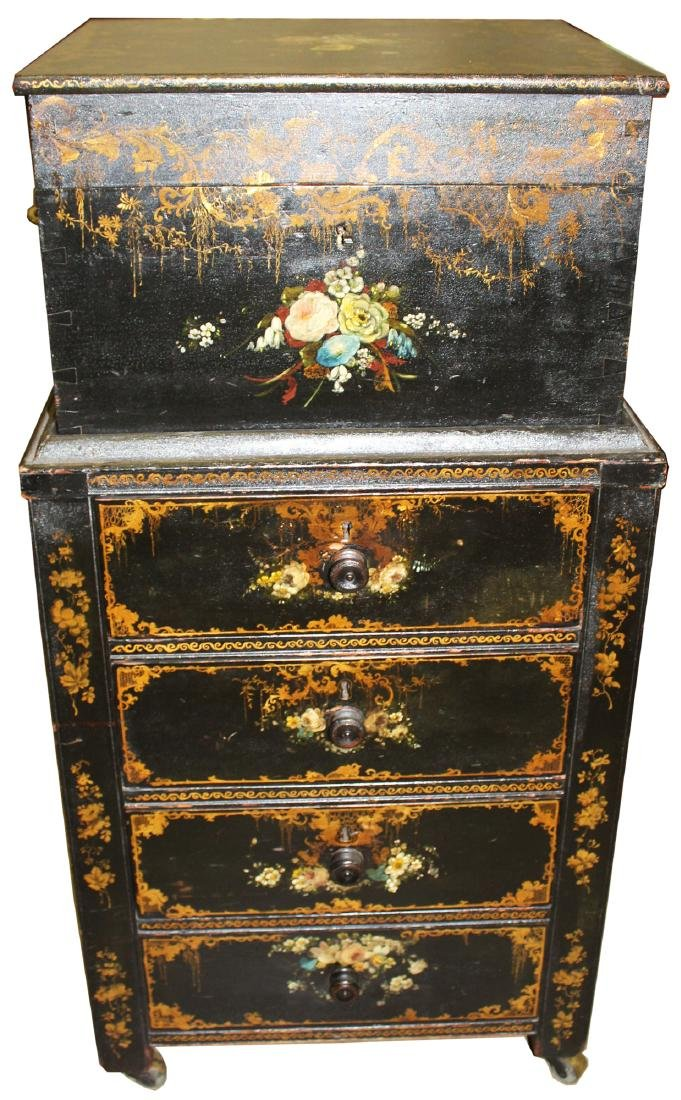 19th c lift-top lady's cabinet