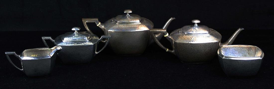 5 pc. Whiting Arts and Crafts sterling tea set