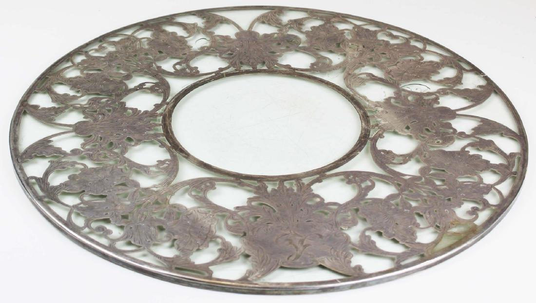 Monumental sterling overlay glass trivet