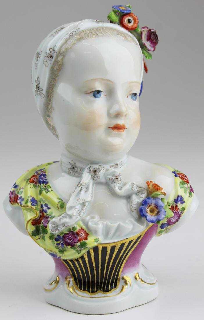 19th c. Meissen porcelain bust of girl
