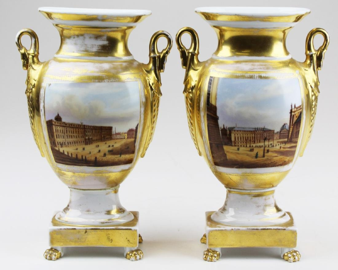 pair of Paris porcelain gilt scenic mantel vases