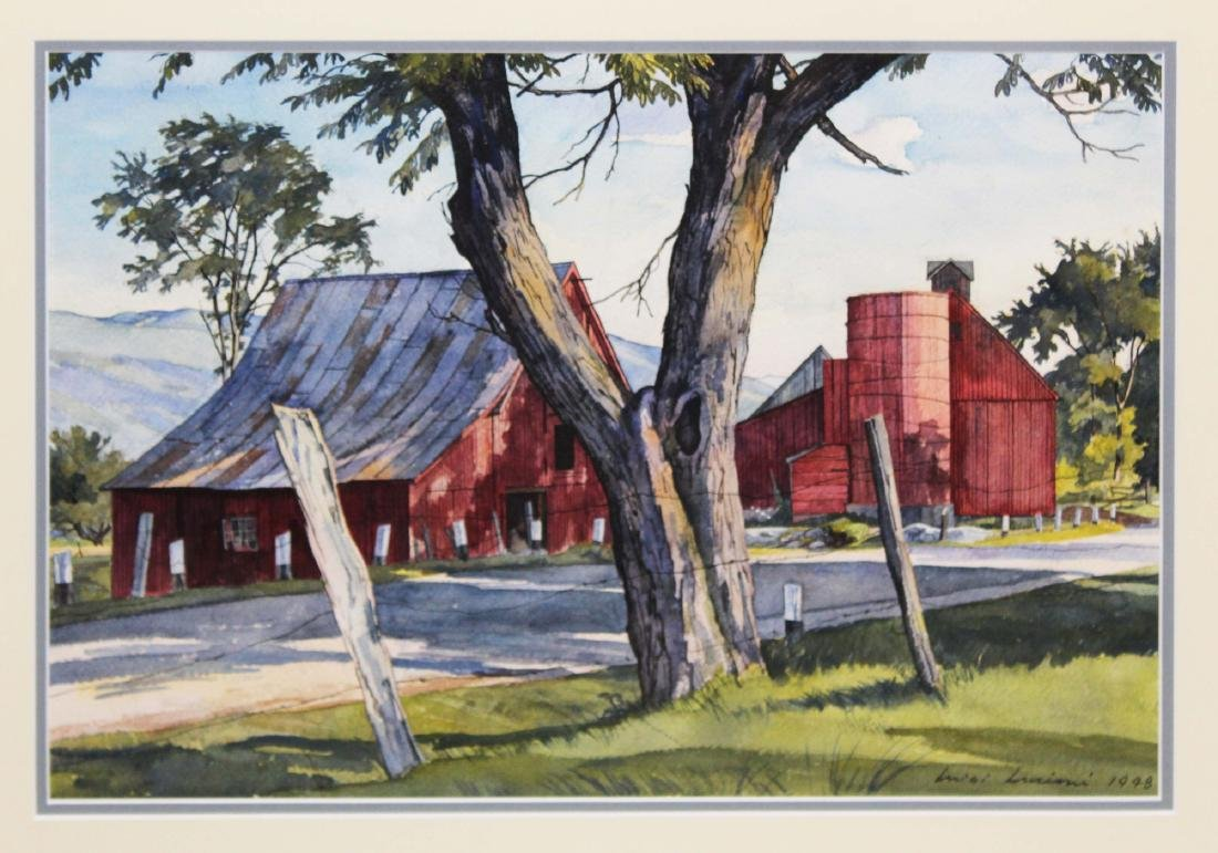 Luigi Lucioni (Am 1900-1988) Red Barns