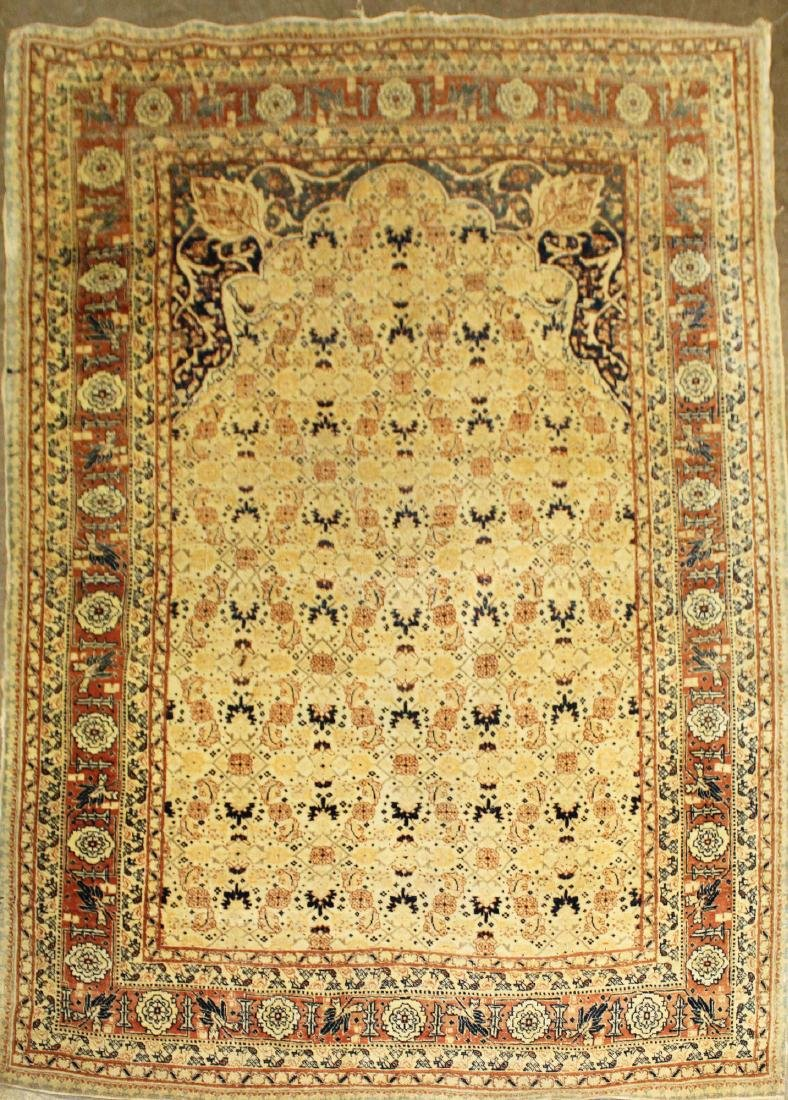 late 19th c Persian Tabriz court prayer rug