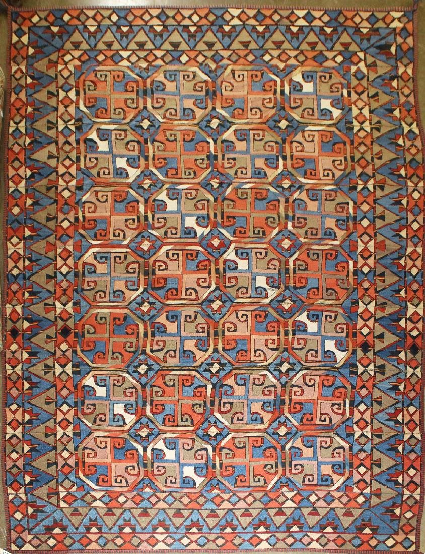 mid 20th c Uzbek soumac area rug