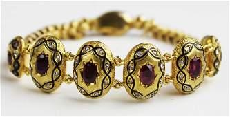Victorian ca 1860 18k y g ruby  diamond bracelet