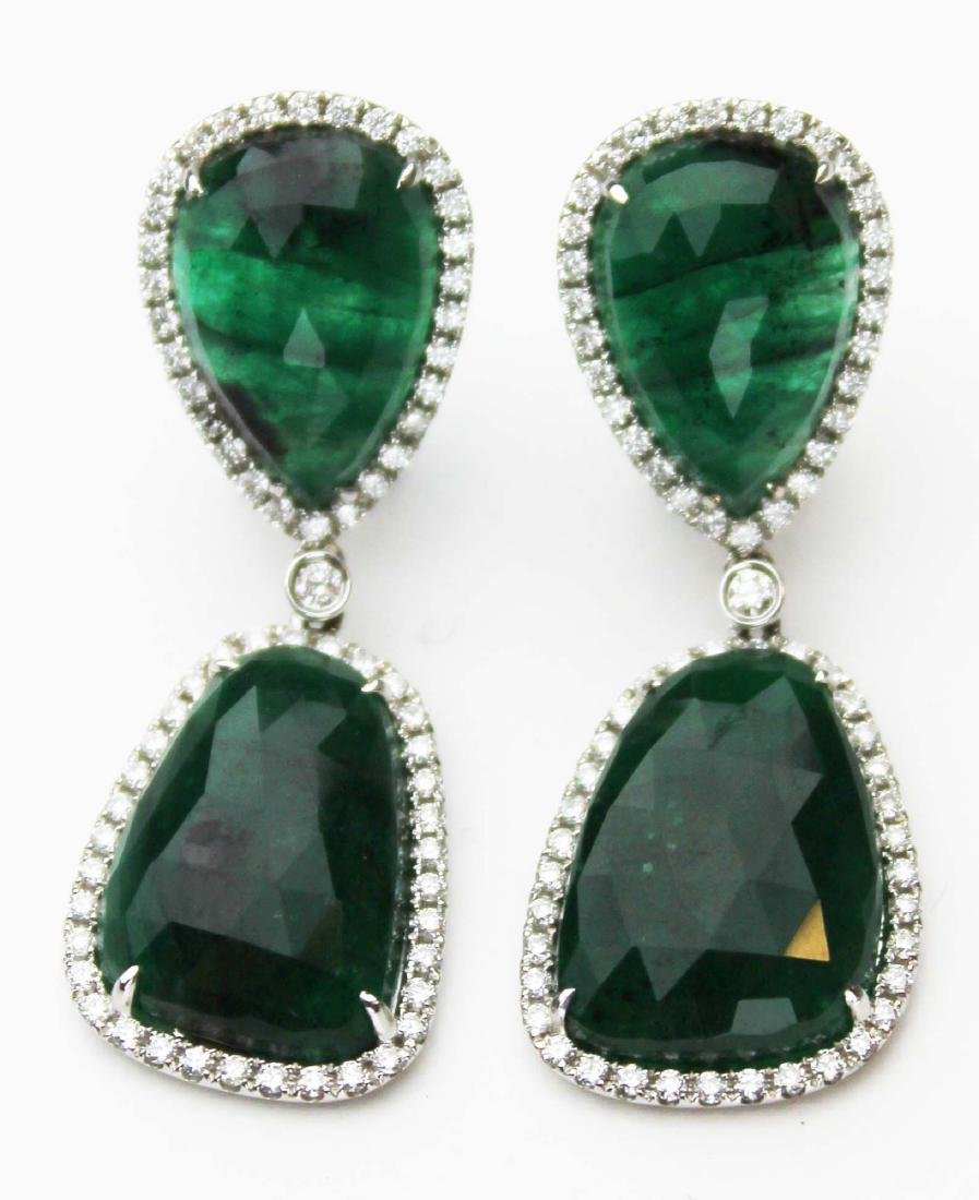 Ca. 1950 pr of emerald & diamond earrings