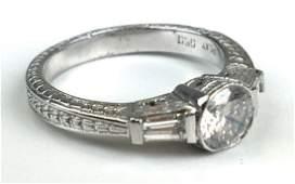 Platinum and diamond engagement ring.