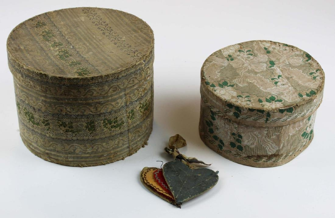 two small 1830's wallpapered boxes
