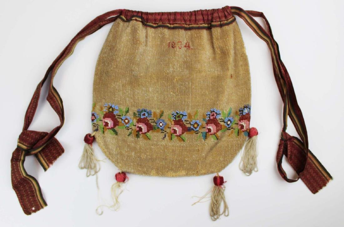 dated 1834 beaded bag or pocket