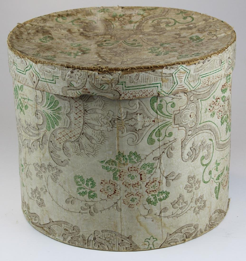 large early 19th c wallpapered hat box