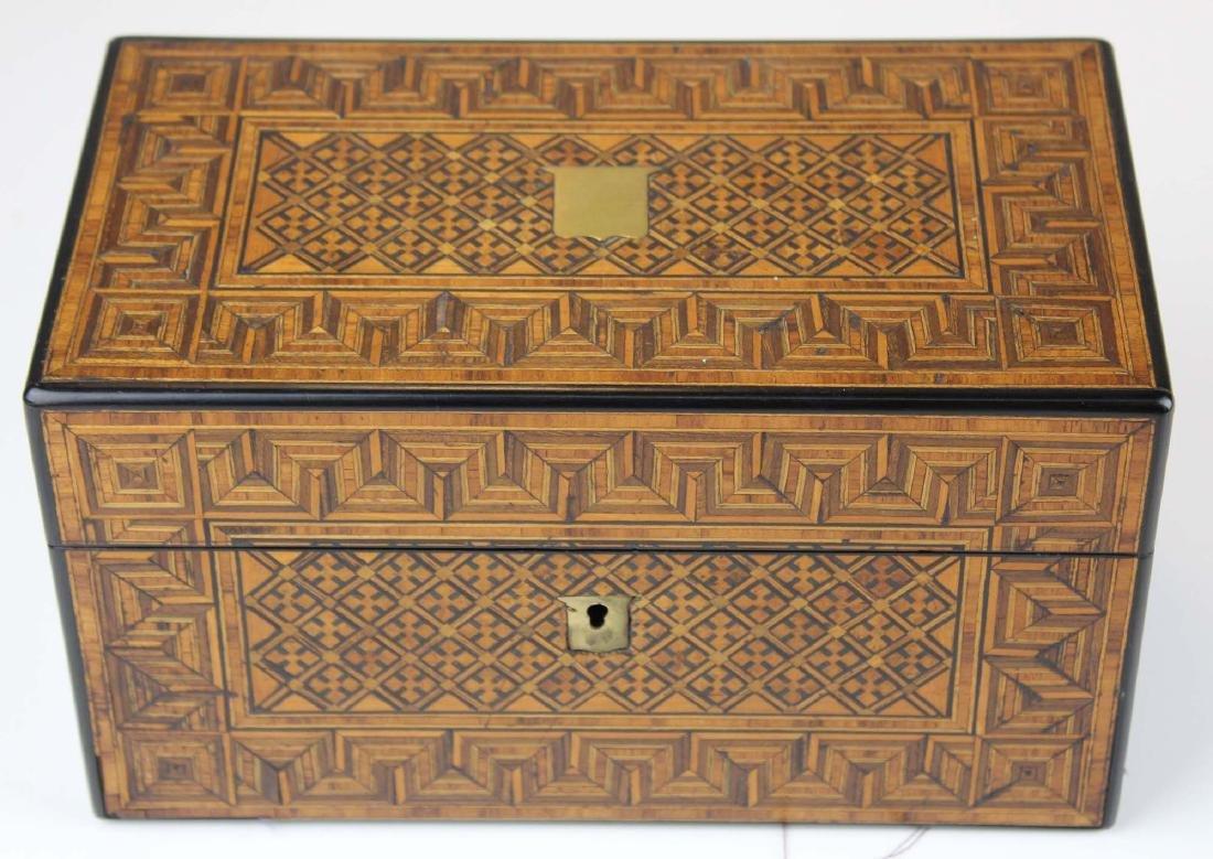 late 19th c parquetry inlaid tea box