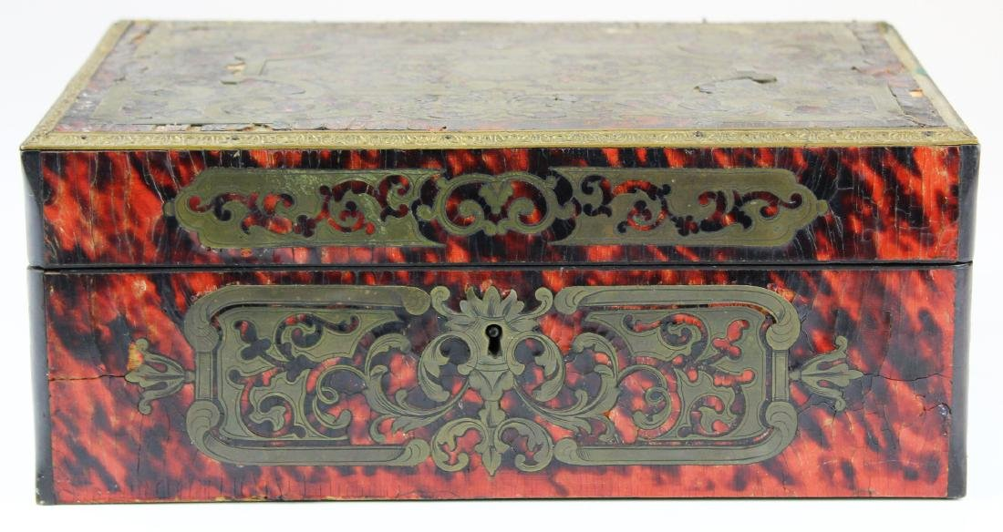 late 19th c French boulle sewing box